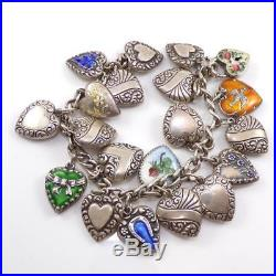 Sterling Silver Vintage Puffy Heart Charm Enamel Bracelet 6.75 QXD21