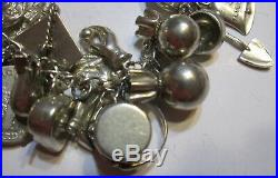 Sterling Silver Ww2 Sweetheart Charm Bracelet 38 Charms B38 Puffed Hearts