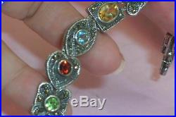 Stunning Sterling Silver Marcasite 10 Gemstone Slide Charm Bracelet