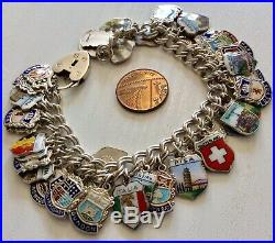 Stunning Vintage Very Heavy Solid Silver & Enamel Travel & Places Charm Bracelet