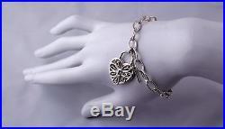 Sweet Tiffany &Co Silver Filigree Heart Key Charm Bracelet 7.75 inches