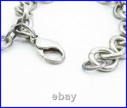 TIFFANY & CO. 925 Silver Vintage Love Heart Charmed Chain Bracelet B8321