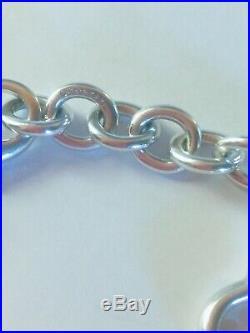 TIFFANY & CO. Sterling Silver Open Heart Charm Bracelet. AUTHENTIC. Vintage