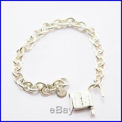 TIFFANY&Co 1837 Lock Cadena Charm Bracelet Silver 925 Bangle 6.69inch Used