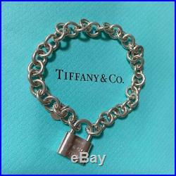 TIFFANY&Co. 1837 Lock padlock Charm Bracelet Silver 925 Bangle H