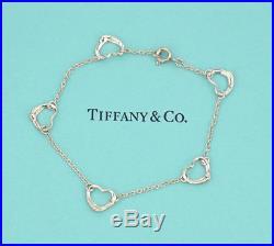 TIFFANY&Co 5 Open Heart Charm Bracelet Peretti Silver 925 Bangle #1773