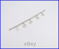 TIFFANY&Co Atlas Charm Bracelet Sterling Silver 925 Bangle withBOX v1583