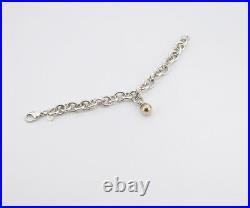 TIFFANY&Co Ball Charm Bracelet 18k Gold & Silver 925 Bangle a28