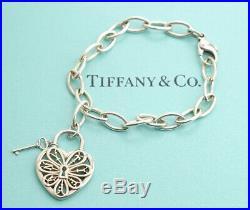 TIFFANY&Co Filigree Heart Key Charm Bracelet Sterling Silver 925 Bangle