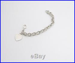 TIFFANY&Co Heart Tag Charm Bracelet Sterling Silver 925 Bangle r3681