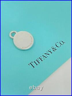 TIFFANY & Co Silver 1837 Circle Black Enamel Charm Pendant For Necklace Bracelet
