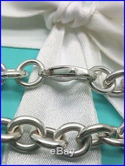 TIFFANY & Co Silver 8mm Medium Round Link Charm Bracelet 7.5