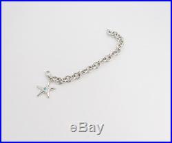 TIFFANY&Co Starfish Turquoise Charm Bracelet Silver 925 Bangle #2226