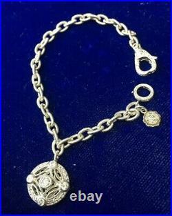 Tacori IV Sterling Silver CZ Dangle Charm Cable Link Bracelet 7 (10.9g) C-948