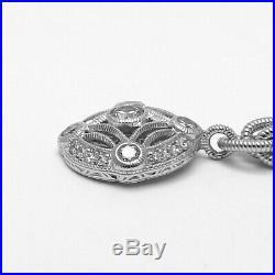 Tacori IV Sterling Silver CZ Dangle Charm Cable Link Bracelet 7.5