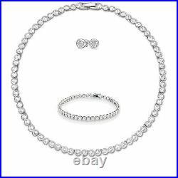 Tennis Necklace Earrings Rhodium Bridal Bracelet Set Swarovski Inspired 3pc UK