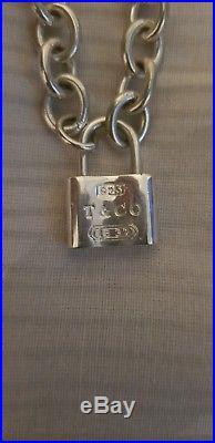 Tiffany & Co 1837 925 Solid Silver Padlock Charm Bracelet