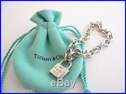 Tiffany & Co 1837 Silver Padlock Lock Charm Bracelet Bangle Link Chain