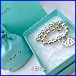 Tiffany & Co 8mm Bead Silver Bracelet Return To Heart Charm 7/15gr 190214B