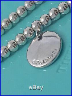 Tiffany & Co 925 Silver Mini Bead I Love You Circle Charm Bracelet 7.5in 190819A