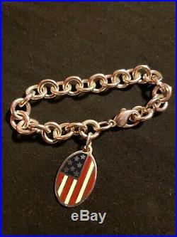 Tiffany & Co. 925 Sterling Silver American Flag Enamel Tag/Charm Bracelet (7.5)