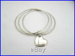 Tiffany & Co 925 Sterling Silver Triple Bangle Heart Charm Bracelet AW