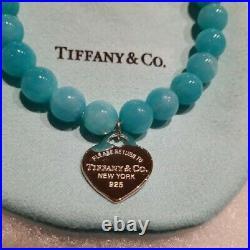 Tiffany & Co. Amazonite Bracelet Mini Heart Charm Beaded Sterling Silver 925