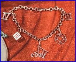 Tiffany & Co Atlas Roman Numerals Sterling Silver Charm Bracelet/Necklace Set