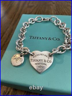 Tiffany & Co Bracelet With Silver Heart Return to Tiffany With'M' Charm 7-8