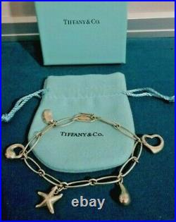 Tiffany & Co. Elsa Peretti 5 Charm Bracelet Sterling Silver 925 8 With Box, Pouch
