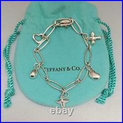 Tiffany & Co. Elsa Peretti 5 Charm Bracelet Sterling Silver 925 SV925 7 NO BOX