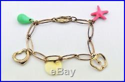 Tiffany & Co Elsa Peretti 5 Charm Bracelet Sterling Silver Heart Apple Starfish