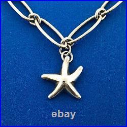 Tiffany Co Elsa Peretti 925 Sterling Silver Starfish Charm Paper Clip Bracelet