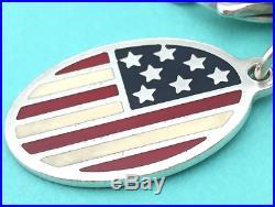 Tiffany & Co. Enamel American Flag Charm Bracelet Sterling Silver 8 Rare