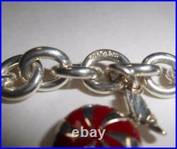 Tiffany & Co Enamel Candy Twist Bon Bon Bracelet Bangle Link Chain Pouch Silver
