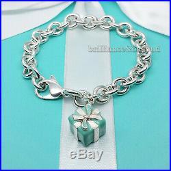 Tiffany & Co. Enamel Gift Box Present Charm Bracelet 925 Sterling Silver RARE