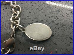 Tiffany & Co. Enamel Oval Flag Charm Bracelet 8 Inch Large Sterling Silver 925