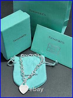 Tiffany & Co. Heart Tag Charm Bracelet Chain 925 Sterling Silver