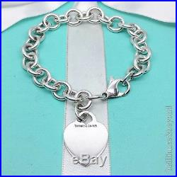 Tiffany & Co Heart Tag Charm Bracelet Chain 925 Sterling Silver Authentic 7.5in