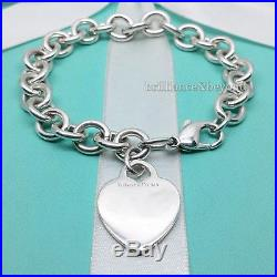 Tiffany & Co. Heart Tag Charm Bracelet Chain 925 Sterling Silver Authentic 8.25