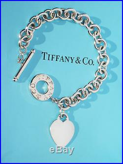 Tiffany & Co Heart Tag Charm Toggle Sterling Silver Bracelet