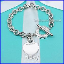 296dbbbd0 Tiffany & Co Heart Tag Toggle Chain Charm Bracelet 925 Sterling Silver  Authentic