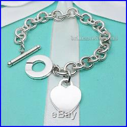 Tiffany & Co Heart Tag Toggle Chain Charm Bracelet 925 Sterling Silver Authentic