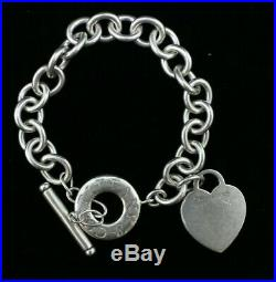 Tiffany & Co. Heart Tag Toggle Charm Bracelet 925 Sterling Silver 7 (#102)