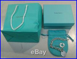Tiffany & Co. Heart Tag Toggle Charm Bracelet 925 Sterling Silver Authentic