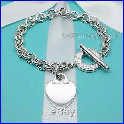 Tiffany & Co Heart Tag Toggle Charm Bracelet 925 Sterling Silver Authentic 8.25