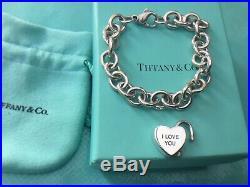 Tiffany & Co I Love You Heart Padlock 19cm Charm Bracelet Sterling Silver