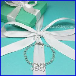 Tiffany & Co. Infinity Charm Bracelet Chain 925 Sterling Silver Authentic