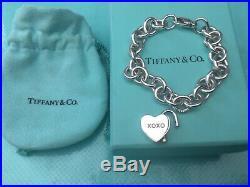 Tiffany & Co Love & Kisses Padlock Heart 19cm Charm Bracelet Sterling Silver