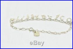 Tiffany & Co. Love Notes Dangle Charm Bracelet Sterling Silver Enamel Size Small